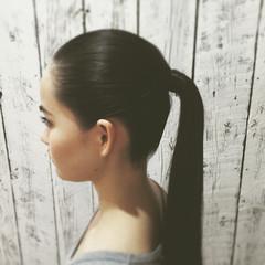 ナチュラル ポニーテール ロング ヘアアレンジ ヘアスタイルや髪型の写真・画像
