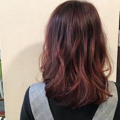 ピンク グラデーションカラー ミディアム 大人かわいい ヘアスタイルや髪型の写真・画像