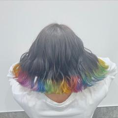 インナーカラー ストリート ボブ ハイトーン ヘアスタイルや髪型の写真・画像
