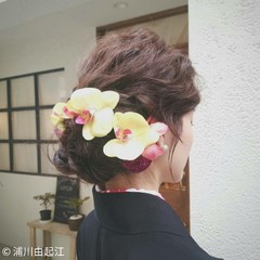 ゆるふわ フェミニン 結婚式 ミディアム ヘアスタイルや髪型の写真・画像
