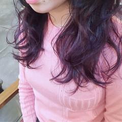 ガーリー レッド パープル セミロング ヘアスタイルや髪型の写真・画像