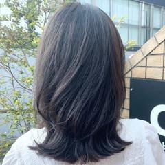 セミロング ナチュラル ワンカール ミディアムレイヤー ヘアスタイルや髪型の写真・画像