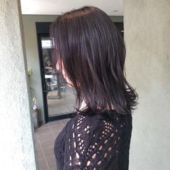 ミディアム 暗髪バイオレット 暗髪 パープルカラー ヘアスタイルや髪型の写真・画像