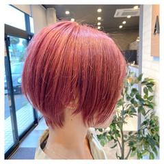 ベリーショート ピンク ボブ ダブルカラー ヘアスタイルや髪型の写真・画像