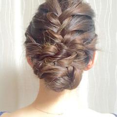 ショート まとめ髪 編み込み ヘアアレンジ ヘアスタイルや髪型の写真・画像
