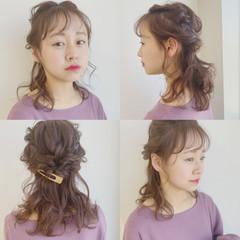 ピンク 大人かわいい ナチュラル ヘアアレンジ ヘアスタイルや髪型の写真・画像