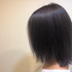 ナチュラル ボブ うる艶カラー パープルアッシュ ヘアスタイルや髪型の写真・画像