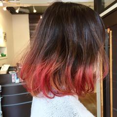 ボブ グラデーションカラー ゆるふわ パーマ ヘアスタイルや髪型の写真・画像