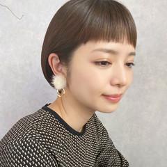 大人かわいい ナチュラル グレージュ ミニボブ ヘアスタイルや髪型の写真・画像
