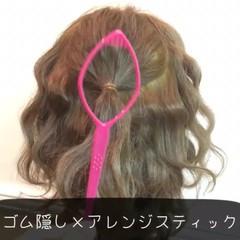 セミロング フェミニン ショート 簡単ヘアアレンジ ヘアスタイルや髪型の写真・画像