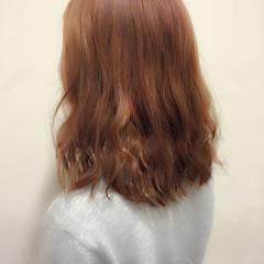 ゆるふわ 大人かわいい ミディアム オレンジ ヘアスタイルや髪型の写真・画像