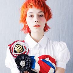 オレンジ イエロー ハイトーン モード ヘアスタイルや髪型の写真・画像
