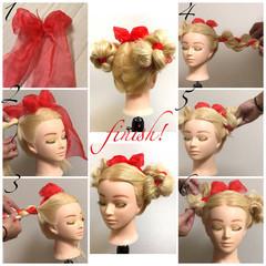 フェミニン ヘアアレンジ お団子 ロング ヘアスタイルや髪型の写真・画像