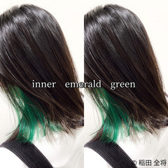 ストリート ミディアム インナーグリーン インナーカラー ヘアスタイルや髪型の写真・画像