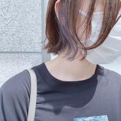 ナチュラル インナーカラー 切りっぱなしボブ ボブ ヘアスタイルや髪型の写真・画像