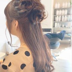 オフィス 簡単ヘアアレンジ デート セミロング ヘアスタイルや髪型の写真・画像