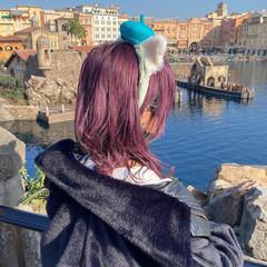 フェミニン ミディアム ピンクバイオレット ピンクパープル ヘアスタイルや髪型の写真・画像