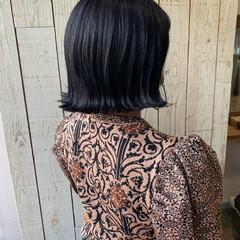 モード ミニボブ 切りっぱなしボブ ネイビーブルー ヘアスタイルや髪型の写真・画像