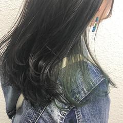 アディクシーカラー 切りっぱなしボブ ミディアム ガーリー ヘアスタイルや髪型の写真・画像