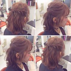 ショート ミディアム 簡単ヘアアレンジ ヘアアレンジ ヘアスタイルや髪型の写真・画像