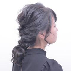 編みおろしヘア セミロング ヘアアレンジ 編みおろし ヘアスタイルや髪型の写真・画像