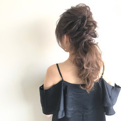 結婚式 ローポニーテール ヘアアレンジ 上品 ヘアスタイルや髪型の写真・画像