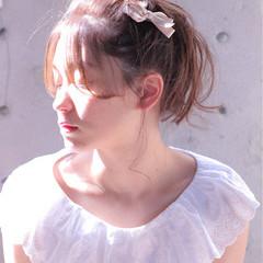 メッシーバン セミロング フェミニン ショート ヘアスタイルや髪型の写真・画像