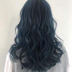ガーリー ネイビーブルー ブリーチ ハイトーン ヘアスタイルや髪型の写真・画像