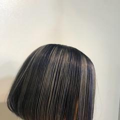 ボブ ブルー アッシュ ストリート ヘアスタイルや髪型の写真・画像