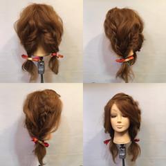 フィッシュボーン セミロング 裏編み込み ヘアアクセ ヘアスタイルや髪型の写真・画像