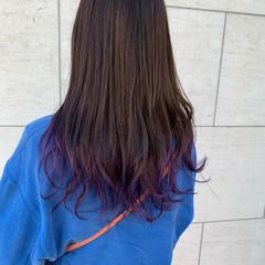ロング パープルカラー ナチュラル 韓国ヘア ヘアスタイルや髪型の写真・画像