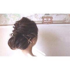 セミロング 簡単ヘアアレンジ くるりんぱ ヘアアレンジ ヘアスタイルや髪型の写真・画像