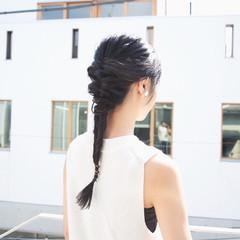 ナチュラル セミロング 簡単ヘアアレンジ ハーフアップ ヘアスタイルや髪型の写真・画像