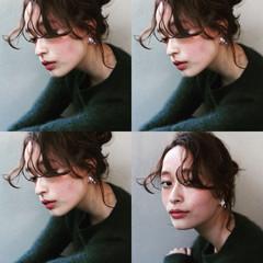 ルーズ ヘアアレンジ 編み込み ミディアム ヘアスタイルや髪型の写真・画像