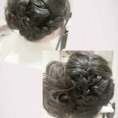 セミロング 結婚式 大人かわいい アップスタイル ヘアスタイルや髪型の写真・画像