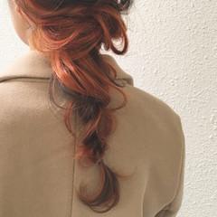 オレンジ インナーカラー ロング 簡単ヘアアレンジ ヘアスタイルや髪型の写真・画像