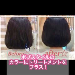 ショートボブ 髪質改善カラー 髪質改善 ボブ ヘアスタイルや髪型の写真・画像