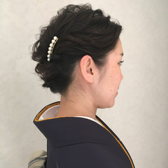 着物 ヘアアレンジ 謝恩会 ミディアム ヘアスタイルや髪型の写真・画像