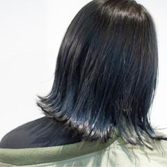 ブルー ブルーアッシュ 暗髪 ネイビー ヘアスタイルや髪型の写真・画像