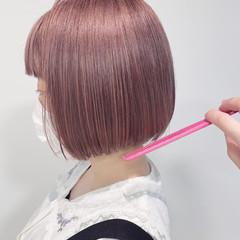 ナチュラル ミニボブ ラベンダーカラー ラベンダーピンク ヘアスタイルや髪型の写真・画像