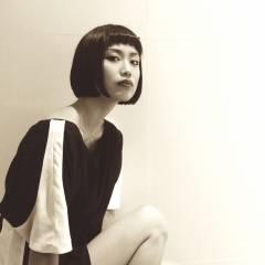 黒髪  オン眉 モード ヘアスタイルや髪型の写真・画像