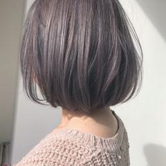 ボブ フェミニン ハイトーン ラベンダーアッシュ ヘアスタイルや髪型の写真・画像