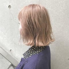ブリーチ ガーリー ミルクティーベージュ ボブ ヘアスタイルや髪型の写真・画像