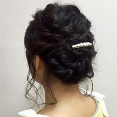 ヘアセット アップスタイル ガーリー ミディアム ヘアスタイルや髪型の写真・画像
