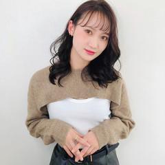 ミディアムレイヤー ナチュラル ミディアム 韓国ヘア ヘアスタイルや髪型の写真・画像