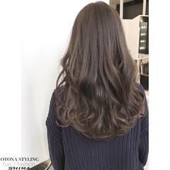 暗髪 アッシュ ロング 冬 ヘアスタイルや髪型の写真・画像