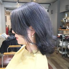 アッシュグレー ストリート スモーキーアッシュベージュ ボブ ヘアスタイルや髪型の写真・画像