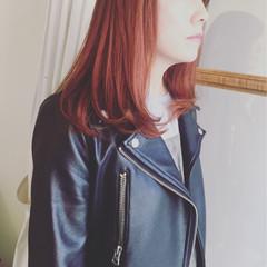 レッド 外国人風カラー ブラウン ワンカール ヘアスタイルや髪型の写真・画像