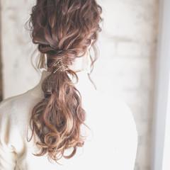 ヘアアレンジ ヘアアクセ ポニーテール ハイライト ヘアスタイルや髪型の写真・画像