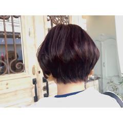ショートボブ 秋 ナチュラル ピンク ヘアスタイルや髪型の写真・画像